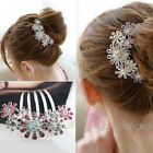 New Crystal Women Flower Rhinestone Hair Pin Clips Barrette Comb Hairpin Bridal