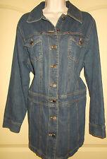 Denim Jean Jacket Plus 14W Roamans Blue Barn Coat Chore Work Mid-Thigh 4d135