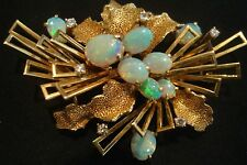 VINTAGE ESTATE OPAL DIAMOND TEXTURED LEAVES 14K GOLD CLUSTER BROOCH / PENDANT