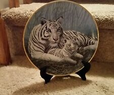 """The Franklin Mint Limited Edition Plate """"White Tigers"""" by Michael Matherly"""