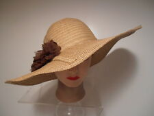 "Hat - P.O.P."" TAN Straw Wide Brim Kentucky Derby Cruise Wedding Beach FLOWER"