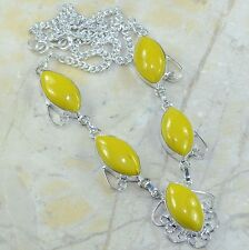 "Yellow Agate Jasper 100% Pure 925 Sterling Silver Necklace 18"" #C65424"