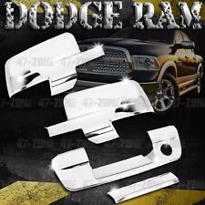 For 09-12 Dodge Ram Chrome Tailgate Handle Side Mirror Cover Combo Overlay Trim
