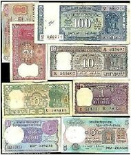 Old Bank Currency Notes of 100 + 10 + 5 ( 4 DEER) + 5 + 2 + 2 + 1 + 1 = 8 Notes