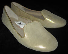 Gap NWT Womens Gold Metallic Leather Loafers Ballet Style Shoes 6.5 $50