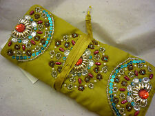 JEWELLERY ROLL FAIR TRADE EMBROIDERED BEADED BN TRAVEL ACCESSORY