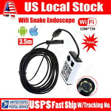 WIFI Endoscope Borescope HD Inspection 3.5M 9MM Snake Camera For iPhone Android
