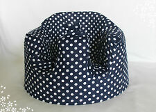 *NEW DESIGN'  Bumbo 100% Cotton Seat Cover with Harness Slots 'Navy Polkadots