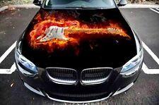 Car Hood Bonnet Fire Guitar Flames Graphics Decal Vinyl Sticker fit any Auto