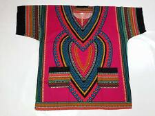 AFRICAN Shirt DASHIKI PRINT MEN gamaiga tribal ETHNIC caftan GYPSY PINK HIPPIE