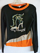 Cache Black Top Rhinestone Shoe and Saying   As Is   Sm