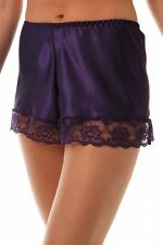 Ladies Size 10-12 Shiny Satin Luxury French Knickers Panties Lacy Purple