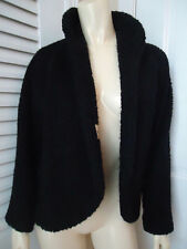 VINTAGE GLENHAVEN Coat Wrap M Black Wool Textured Boucle Lined Retro 60s