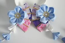 Girl's Handmade Japanese Wedding Hair Clip Blue Sakura Fan Pin Kanzashi  1pc