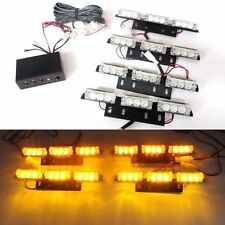 36 LED Amber Car Flashing Emergency Grille Light 4 Bars Recovery Strobe UK Stock