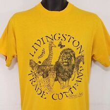 Vtg 90s T Shirt Lion Tiger Giraffe Zebra Livingston Trade Company Mens Sz M EUC