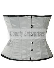 Shaper Cincher Taillen Waspie Full Steel Bone Waistbust Gray/Silver Satin Corset
