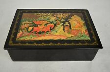 Russian Hand Painted Lacquer Box Hinged Horse Water House Signed Vintage