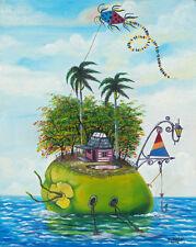 """CUBAN ART**M Medina**Casa de Coco**ORIGINAL OIL 19.75x15.75"""""""