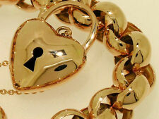 L01 SOLID 9ct ROSE Gold Belcher Heart Padlock Bracelet HEAVY 45gr 19cm long