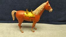 1960's Vintage Johnny West BOTW Thunderbolt Horse Brown With Gold Knight Saddle