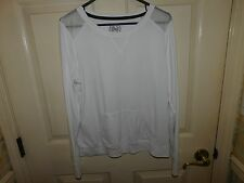 SO Women's White Long Sleeve Sweat Shirt With Mesh shoulder Area Size XL