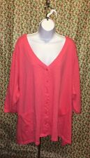 F13 Ulla Popkin Pink 5X Plus Button Top Long Sleeve Cotton Jacket