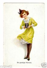 """POSTCARD GERMAN WOMAN WITH CAMERA """"A FAVORABLE MOMENT"""""""