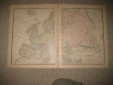LARGE SUPERB ANTIQUE 1882 EUROPE MAP RUSSIA IRELAND FRANCE HUNGARY FRANCE NR