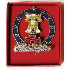 CHRISTMAS  ORNAMENT PHILADELPHIA PA. INDEPENDENCE HALL BRASS SIZE 2.5 X 2.5 INCH