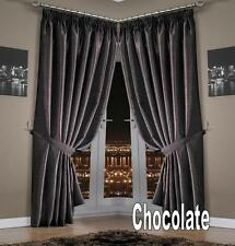 "CLEARANCE ** ROME DOUBLE LINED THERMAL THICK CURTAINS ~ Chocolate 54"" Drop"