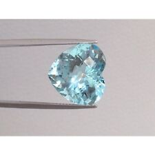 Natural Aquamarine 11.41 carats Light blue color Heart shape very eye clean