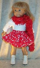 "Doll Clothes fit American Girl 18"" inch Ice Skate Dance 3p Candy Cane Red White"