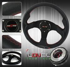 "320MM ALL BLACK STEERING WHEEL TYPE R STYLE W/ 1.5"" SLIM QUICK RELEASE & HORN"