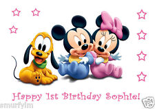 MINNIE MICKEY MOUSE PLUTO BABY Personalised Cake Toppers Edible Icing  A4 img 16
