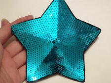 large blue star patches sequin applique patch motif sew on UK