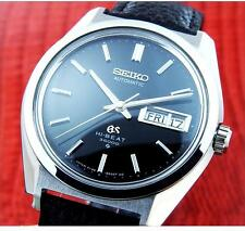Excellent Mens GRAND SEIKO HI-BEAT 36000 Steel Black Dial Automatic / 6146-8000