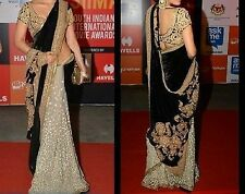 Bollywood Designer Party Wear Black & Cream color Heavy Saree