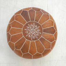 moroccan pouf Leather Ottoman Footstool Handmade tan & white Crafted and Home