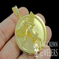 ICY 14K GOLD FINISH DIAMOND SIMULATED HOLY ANGEL CUSTOM CHARM PENDANT MEDALLION