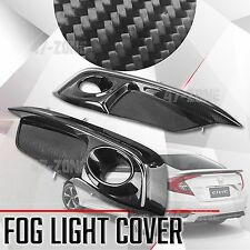 For 16 17 Honda Civic Sedan 10th Gen Glossy Real Carbon Fiber Fog Light Trim