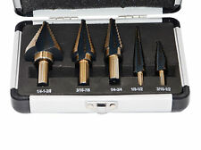 5pcs Hss Cobalt Multiple Hole 50 Sizes Step Drill Bit Hog Set W/Aluminum Case