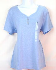 Karen Scott Womens L Blue Heather Button Neck Top Blouse Tee Pullover NWT
