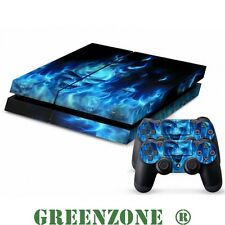 Blue Skull Vinyl Decal Sticker Set for PS4 Console and 2 Controller