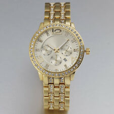 New Luxury Elegant Crystal Women Date Stainless Steel Golden Quartz Wrist Watch