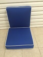 2 pc Frontgate Cobalt Blue Verand Dining Thick Chair Patio Outdoor Cushion 22x21