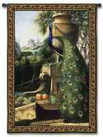 EUROPEAN BALCONY VIEW FEATHERED PEACOCK ART TAPESTRY WALL HANGING 41x53