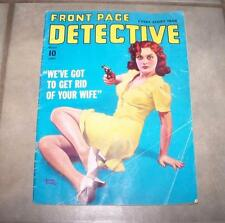 AUGUST 1941 FRONT PAGE DETECTIVE MAGAZINE GET RID OF YOUR WIFE GUN CLEAVAGE