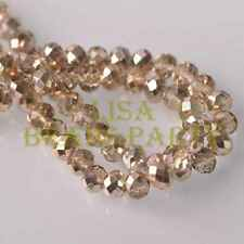 New 30pcs 10X8mm Faceted Rondelle Charm Loose Glass Spacer Beads Light Champagne
