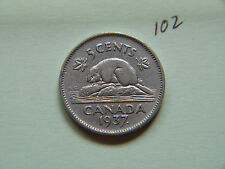 1937 Dot,  Canada 5c  Five Cents,  Nickel, Canadian